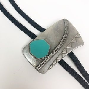 VINTAGE l Bolo Tie Silver With Turquoise accent